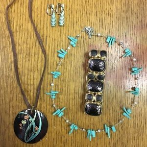 Brown and Blue Jewelry Set (4 piece)